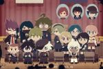 6+boys 6+girls ahoge akamatsu_kaede amami_rantarou bangs black_blood black_eyes black_hair blood blood_splatter blue_background blue_eyes blue_hair blue_sailor_collar blush bow bowtie breasts brown_hair chabashira_tenko chair chibi clenched_teeth closed_eyes commentary curtains danganronpa_(series) danganronpa_v3:_killing_harmony dated diploma eyelashes facial_hair gakuran glasses goatee gokuhara_gonta green_hair grey_hair grin gym hair_ornament hairclip hakusoto harukawa_maki hat headband holding hoshi_ryouma indoors iruma_miu jacket japanese_clothes keebo large_breasts looking_at_viewer looking_to_the_side mask mole mole_under_eye mole_under_mouth multiple_boys multiple_girls neckerchief necktie open_clothes open_jacket ouma_kokichi plaid plaid_neckwear plaid_skirt purple_hair red_neckwear redhead saihara_shuuichi sailor_collar school_uniform shinguuji_korekiyo shirogane_tsumugi short_hair simple_background sitting skirt smile spoilers swept_bangs tagme teeth toujou_kirumi tube wavy_hair white_hair yellow_eyes yonaga_angie yumeno_himiko