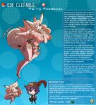 1boy 1girl animal_ears artist_name belt belt_pouch boots breasts clefable curly_hair curvy english_commentary english_text finger_to_own_chin gen_1_pokemon gloves highres kinkymation large_breasts personification pink_eyes pink_hair pokemon pouch profile purple_hair tail thigh-highs thigh_boots wings