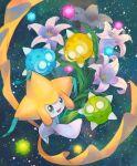 blurry commentary_request flower gen_3_pokemon gen_7_pokemon green_eyes highres jirachi kikuyoshi_(tracco) minior mythical_pokemon no_humans open_mouth pokemon pokemon_(creature) shiny signature smile