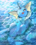 brown_eyes commentary_request fang gen_1_pokemon highres kikuyoshi_(tracco) lying no_humans on_back one_eye_closed open_mouth paws pokemon pokemon_(creature) signature smile toes tongue vaporeon water water_surface wet