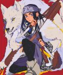 1girl ainu ainu_clothes artist_name asirpa bag bandana black_hair black_pants blue_bandana blue_eyes boots bow_(weapon) cape closed_mouth commentary ear_piercing earrings eyebrows fangs fur_cape golden_kamuy holding holding_knife holding_weapon hoop_earrings jewelry knife kokirikiwi lips long_hair long_sleeves looking_at_viewer pants piercing quiver red_background retar sheath simple_background sitting teeth weapon weapon_on_back white_cape white_footwear white_wolf wolf yellow_eyes