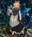1girl apron bangs black_capelet black_dress blonde_hair blouse blue_eyes blue_flower bow bowtie breasts capelet closed_mouth commentary_request cookie_(touhou) dress eyebrows_visible_through_hair eyes_visible_through_hair floral_background flower frilled_apron frills full_body genderswap genderswap_(mtf) hair_between_eyes hair_bow hazuna_rio high_heels highres holding holding_mask impossible_clothes impossible_dress large_breasts long_hair long_sleeves looking_at_viewer mask poopdick red_bow red_footwear red_neckwear shanghai_doll smile solo standing touhou waist_apron white_apron white_blouse