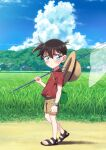 1boy bangs blue_eyes blue_sky blush butterfly_net casual child closed_mouth clouds commentary_request day edogawa_conan field full_body glasses grass hair_between_eyes hand_net hat hat_around_neck holding holding_butterfly_net house k_gear_labo looking_at_viewer male_focus meitantei_conan midriff_peek outdoors red_shirt sandals shadow shirt short_hair short_sleeves sky solo standing straw_hat sweat watch watch