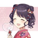 1girl :d ^_^ absurdres bangs black_hair blush closed_eyes eyebrows_visible_through_hair facing_viewer fangs floral_print from_side fukumaru_koito hair_ornament hand_up heart highres holding idolmaster idolmaster_shiny_colors japanese_clothes kimono mochiko_(uyu_omochi) open_mouth pink_background print_kimono red_kimono smile solo swept_bangs transparent two-tone_background upper_body white_background