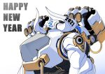 2021 absurdres blue_eyes chinese_zodiac extra_eyes happy_new_year highres horns korean_commentary looking_up mecha new_year no_humans nose_piercing nose_ring original piercing science_fiction solo tajyador upper_body year_of_the_ox
