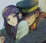1boy 1girl ainu ainu_clothes asirpa bandana black_hair blue_bandana blue_eyes blue_headwear blush closed_mouth commentary_request couple covered_eyes ear_piercing earrings from_side golden_kamuy grey_background hat hoop_earrings hug hug_from_behind imperial_japanese_army jewelry kepi kurobuta_(pachiko) lips long_hair long_sleeves looking_at_viewer military military_hat military_uniform piercing scar scar_on_cheek scar_on_face scar_on_mouth scarf short_hair simple_background star_(symbol) sugimoto_saichi two-tone_headwear uniform upper_body yellow_headwear yellow_scarf