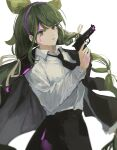 1girl absurdres alternate_costume bangs black_jacket black_neckwear black_skirt blood bloody_clothes bloody_hands chabashira_tenko closed_mouth collared_shirt commentary_request cowboy_shot danganronpa_(series) danganronpa_v3:_killing_harmony green_hair grey_background gun hair_ornament hairband handgun highres holding holding_gun holding_weapon jacket jacket_on_shoulders long_hair long_sleeves looking_at_viewer necktie null_(skev7724) pink_blood pink_hairband shirt shirt_tucked_in simple_background skirt smile solo weapon white_shirt