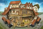 bed building car carpet clouds cross-section demizu_posuka fisheye ground_vehicle house indoors kitchen lamp maid motor_vehicle original plant road rooftop scenery shelf stairs street television translation_request tree wheel window