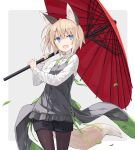 1girl :d animal_ears bangs black_shorts blue_eyes brown_hair brown_legwear commentary_request eyebrows_visible_through_hair fang fox_ears fox_girl fox_tail frills grey_background hair_between_eyes highres holding holding_umbrella legwear_under_shorts long_sleeves oil-paper_umbrella open_mouth original pantyhose poco_(asahi_age) red_umbrella shirt short_shorts shorts smile solo standing tail two-tone_background umbrella white_background white_shirt