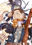 1boy 1girl absurdres ainu ainu_clothes arisaka asirpa bandana belt blue_coat blue_eyes blue_gloves blue_hair bolt_action boots brown_belt brown_eyes brown_hair cape coat commentary eyebrows fingerless_gloves fingernails fur_cape gloves golden_kamuy gun highres holding holding_gun holding_knife holding_weapon imperial_japanese_army knife leather_belt long_hair long_sleeves looking_at_viewer military military_uniform no_hat no_headwear one_eye_closed parted_lips pouch ragmania rifle scar scar_on_cheek scar_on_face scar_on_mouth scar_on_nose scarf short_hair simple_background single_glove sitting sugimoto_saichi uniform upper_body weapon white_background white_cape white_footwear wide_sleeves yellow_scarf