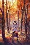 1girl autumn black_footwear black_neckwear black_ribbon black_skirt boots breasts brown_hair camera closed_mouth day eyebrows_visible_through_hair fan fjsmu forest full_body hat hauchiwa highres holding holding_camera holding_fan jitome looking_at_viewer nature neck_ribbon outdoors petticoat pom_pom_(clothes) puffy_short_sleeves puffy_sleeves red_eyes red_headwear ribbon shameimaru_aya shirt short_hair short_sleeves skirt small_breasts smile solo standing star_(symbol) star_print sunlight tokin_hat touhou tree white_shirt