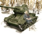 1boy absurdres bangs belt birch black_footwear blood bloody_clothes bloody_paper blue_eyes boots brown_belt coat commentary_request covered_mouth dima forest golden_kamuy grey_coat grey_scarf ground_vehicle gun highres holding holding_paper long_sleeves looking_away male_focus marker_(medium) military military_uniform military_vehicle motor_vehicle nature outdoors paper rifle scarf short_hair sideburns sitting solo t-34 tank traditional_media tree uniform vasily_(golden_kamuy) watercolor_(medium) weapon