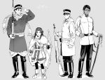 1girl 3boys adjusting_clothes adjusting_headwear ainu ainu_clothes arisaka arm_up asirpa bandana bangs belt black_belt black_eyes black_footwear black_hair black_pants bolt_action boots bow_(weapon) buttons cape closed_mouth coat collared_jacket commentary_request dark_skin dark_skinned_male ear_piercing earrings facial_hair full_body fur_cape golden_kamuy grey_background greyscale gun hat height_difference holding holding_bow_(weapon) holding_gun holding_sword holding_weapon hooded_coat hoop_earrings imperial_japanese_army jacket jewelry kepi koito_otonoshin long_hair long_sleeves looking_at_viewer military military_hat military_uniform monochrome multiple_boys pants parted_bangs parted_lips piercing pocket pouch rifle scar scar_on_cheek scar_on_face scar_on_nose scarf sheath sheathed short_hair simple_background smile standing star_(symbol) stubble sugimoto_saichi sword tr_(lauralauraluara) translation_request tsukishima_hajime uniform weapon white_cape white_coat white_footwear white_jacket
