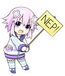1girl absurdres blush boots chibi d-pad d-pad_hair_ornament eyebrows_visible_through_hair full_body hair_between_eyes hair_ornament highres hood hood_down hooded_jacket jacket long_sleeves looking_at_viewer neptune_(neptune_series) neptune_(series) open_mouth pink_hair purple_footwear short_sleeves smile solo striped striped_legwear thigh-highs thighhighs_under_boots violet_eyes white_jacket