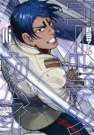 1boy artist_name bangs black_eyes blue_pants building clenched_teeth collar collared_jacket copyright_name cover cover_page cutting dark_blue_hair dark_skin dark_skinned_male from_side golden_kamuy highres holding holding_sword holding_weapon imperial_japanese_army jacket koito_otonoshin long_sleeves looking_at_viewer male_focus manga_cover military military_uniform noda_satoru official_art open_mouth outdoors pants parted_bangs saber_(weapon) short_hair solo star_(symbol) sword teeth uniform upper_body weapon white_jacket