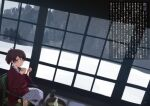 1girl bath_yukata brown_eyes brown_hair choko_(cup) commentary_request cup hanten_(clothes) indoors japanese_clothes kantai_collection kimono looking_at_viewer ponytail shiki_no_miko shikinami_(kantai_collection) short_hair sitting snow solo table tokkuri translation_request window yukata