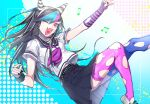 1girl arm_up bangs black_hair black_nails black_skirt blue_hair blue_legwear blush breasts commentary_request danganronpa_(series) danganronpa_2:_goodbye_despair ear_piercing fang fingerless_gloves foot_out_of_frame from_side gloves hand_up heart heart_in_mouth highres jewelry lip_piercing long_hair looking_at_viewer mioda_ibuki mismatched_legwear multicolored_hair musical_note necklace one_eye_closed open_mouth piercing pink_eyes pink_hair pleated_skirt sailor_collar school_uniform scrunchie serafuku shirt shoes short_hair short_sleeves single_glove skin_fang skirt smile solo suzumetarou thigh-highs torn_clothes torn_gloves torn_legwear white_hair wrist_scrunchie