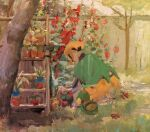 1girl cherubi flower garden gardenia_(pokemon) gardening gen_1_pokemon gen_4_pokemon oddish oil_painting_(medium) petals plant pokemon pokemon_(game) pokemon_dppt potted_plant red_flower shelf traceysketchit tree turtwig