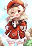 1girl :d ahoge backpack bag bag_charm bangs blonde_hair bloomers blurry blurry_background blush brown_gloves cabbie_hat charm_(object) day depth_of_field eyebrows_visible_through_hair feathers genshin_impact gloves hair_between_eyes hat hat_feather holding_strap klee_(genshin_impact) long_sleeves low_twintails open_mouth outdoors pointy_ears red_eyes red_headwear smile solo standing twintails underwear upper_teeth white_bloomers white_feathers yamabukiiro