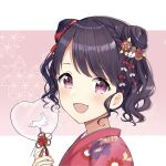 1girl :d absurdres bangs black_hair blush commentary_request eyebrows_visible_through_hair fangs floral_print from_side fukumaru_koito hair_ornament hand_up heart highres holding idolmaster idolmaster_shiny_colors japanese_clothes kimono looking_at_viewer looking_to_the_side mochiko_(uyu_omochi) open_mouth pink_background print_kimono red_eyes red_kimono smile solo swept_bangs transparent two-tone_background upper_body white_background