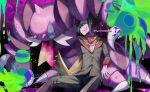 1boy artist_name bangs black_hair buttons claws commentary_request drapion eyelashes fingernails gen_4_pokemon grimsley_(pokemon) highres jacket long_sleeves looking_up male_focus paint pants pokemon pokemon_(creature) pokemon_(game) pokemon_bw scarf shirt tongue tongue_out watermark white_shirt yamanashi_taiki yellow_scarf