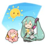 2girls aqua_eyes aqua_hair aqua_neckwear bare_shoulders black_legwear black_skirt black_sleeves blue_sky blush_stickers broken chibi commentary dated detached_sleeves eating grey_shirt hair_ornament hatsune_miku headphones long_hair multiple_girls necktie octopus pink_hair pleated_skirt sangatsu_youka seiza shirt shoulder_tattoo sitting skirt sky sleeveless sleeveless_shirt solid_oval_eyes sun takoluka tattoo tentacle_hair tentacles translated twintails twitter_username very_long_hair vocaloid