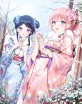 2girls :d a20_(atsumaru) bangs blue_eyes blue_flower blue_hair blue_kimono blush braid braided_bangs chestnut_mouth commentary_request day double_bun eyebrows_visible_through_hair flower fur_collar hair_flower hair_ornament highres japanese_clothes kimono long_hair long_sleeves looking_at_viewer multiple_girls obi omikuji open_mouth original outdoors pink_flower pink_hair pink_kimono pink_rose rose sash smile violet_eyes wide_sleeves