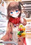 1girl bag bangs bell_pepper blue_eyes blurry blurry_background blush brown_hair brown_jacket closed_mouth food holding holding_bag indoors jacket long_sleeves looking_at_viewer medium_hair necktie original pepper pout rangu red_neckwear red_scarf scarf school_uniform shelf shop side_ponytail solo supermarket sweater uniform