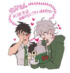 2boys ahoge bangs blush blush_stickers character_doll closed_eyes collared_shirt commentary_request cropped_torso danganronpa_(series) danganronpa_2:_goodbye_despair doll green_jacket green_neckwear grey_hair grey_shirt hand_on_own_face hand_up heart hinata_hajime holding holding_doll hood hooded_jacket jacket komaeda_nagito male_focus medium_hair messy_hair multiple_boys necktie number open_mouth pale_skin shirt short_hair simple_background sin11111 sweatdrop translation_request upper_body white_background