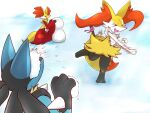 >_< 1boy 2girls animal_ear_fluff animal_ears animal_nose black_fur blue_fur body_fur braixen closed_eyes commentary_request day delphox fang fox_ears fox_girl fox_tail from_behind full_body furry gen_4_pokemon gen_6_pokemon hand_up hands_up happy highres holding ibutsu in_the_face jpeg_artifacts leg_up lucario motion_lines multiple_girls open_mouth outdoors paws pokemon pokemon_(creature) red_fur sideways_mouth skin_fang smile snout snowball snowball_fight snowman spikes standing standing_on_one_leg stick tail throwing upper_body white_fur wolf_boy wolf_ears yellow_fur