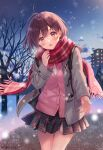 1girl :o antenna_hair backpack bag bare_tree blush bow bowtie brown_hair building cardigan coat commentary_request day duffel_coat fukahire_(ruinon) grey_coat heart highres long_sleeves looking_at_viewer miniskirt open_clothes open_coat open_mouth orange_eyes original outdoors outstretched_hand park pillow pink_bow pink_cardigan pink_neckwear plaid plaid_scarf plaid_skirt pleated_skirt red_scarf scarf short_hair skirt solo thigh_gap tree twitter_username