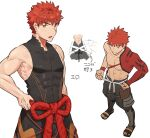 1boy bare_shoulders character_sheet emiya_shirou fate/grand_order fate_(series) highres igote jun_(rand) limited/zero_over looking_at_viewer male_focus open_mouth orange_eyes orange_hair pectorals rope sengo_muramasa_(fate) shimenawa simple_background sleeveless smile solo standing toned toned_male tying upper_body white_background wristband