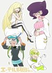 1boy 3girls :d ame_(ame025) big_hair blonde_hair burnet_(pokemon) buttons closed_eyes coat commentary_request crossed_arms crossed_legs dress eyelashes faba_(pokemon) facial_hair glasses goggles goggles_on_head green-tinted_eyewear green_eyes green_hair hands_together high_heels holding holding_phone invisible_chair leggings long_hair long_sleeves looking_at_viewer lusamine_(pokemon) motion_lines multiple_girls open_mouth outline phone pink-framed_eyewear pink_sweater pokemon pokemon_(anime) pokemon_sm_(anime) purple_hair seaweed short_hair sitting smile snorkel sparkle speech_bubble sweater talking_on_phone tongue translation_request turtleneck turtleneck_sweater upper_teeth water_drop wet white_coat white_dress white_legwear wicke_(pokemon)
