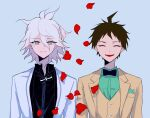 2boys ahoge bangs black_neckwear black_shirt blue_background bow bowtie brown_jacket brown_vest collared_shirt d_i0y danganronpa_(series) danganronpa_2:_goodbye_despair dress_shirt facing_viewer green_shirt grey_eyes grey_hair highres hinata_hajime jacket komaeda_nagito looking_at_viewer male_focus messy_hair multiple_boys official_alternate_costume open_clothes open_jacket open_mouth petals shirt short_hair simple_background smile two-tone_bow vest white_hair white_jacket white_neckwear