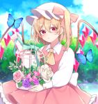 +_+ 1girl absurdres aqua_bow ascot back_bow bangs blonde_hair blurry blurry_background blush bow bug butterfly cage commentary_request crystal day dress expressionless eyebrows_visible_through_hair flandre_scarlet flower hair_between_eyes hat highres holding holding_cage insect long_sleeves looking_at_viewer mob_cap one_side_up outdoors parted_lips pink_bow pink_dress pink_flower pink_rose purple_flower purple_rose red_eyes rose shirt short_hair sitting sky solo star_(symbol) touhou upper_body white_bow white_flower white_headwear white_rose white_shirt wings yellow_neckwear yurui_tuhu