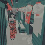 1girl bench door double_bun ema flower grey_hair hair_flower hair_ornament hallway japanese_clothes kimono lantern limited_palette long_sleeves maneki-neko omura06 original paper_lantern print_kimono red_flower red_kimono shadow shelf solo wide_shot