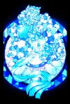 altaria blue_theme commentary_request gen_3_pokemon glint highres iogi_(iogi_k) jpeg_artifacts mega_altaria mega_pokemon no_humans pokemon stained_glass