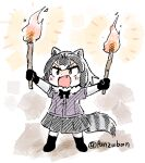 1girl :d animal_ears bangs black_gloves black_skirt bow bowtie brown_eyes chibi commentary common_raccoon_(kemono_friends) fang full_body fur_collar gloves grey_hair holding holding_torch kemono_friends open_mouth panzuban raccoon_ears raccoon_girl raccoon_tail short_hair short_sleeves simple_background skirt smile solo striped_tail tail torch twitter_username v-shaped_eyebrows white_background
