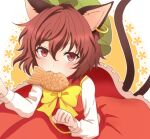 1girl animal_ears bangs blush bow bowtie brown_hair cat_ears cat_tail chen commentary_request cookie dress eyebrows_visible_through_hair flat_chest food hair_between_eyes jewelry long_sleeves looking_at_viewer mouth_hold multiple_tails nekomata oni_tama petticoat red_dress red_eyes short_hair simple_background single_earring solo tail touhou two-tone_background two_tails upper_body white_background yellow_background yellow_bow yellow_neckwear