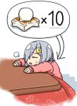 1girl alternate_costume closed_eyes commentary_request hair_ornament hair_over_one_eye hairclip hamakaze_(kantai_collection) hamatsu! kantai_collection kotatsu mochi pink_sweater short_hair silver_hair sitting solo sweater table white_background
