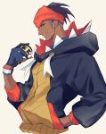 1boy black_hair black_hoodie commentary dark_skin dark_skinned_male dynamax_band earrings gloves gym_leader half-closed_eyes hand_in_pocket hand_up holding holding_poke_ball hood hoodie jewelry male_focus orange_headwear partially_fingerless_gloves poke_ball pokemon pokemon_(game) pokemon_swsh pon_zares raihan_(pokemon) sketch smile solo ultra_ball