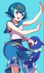 1girl :d asada_yo bangs blue_background blue_eyes blue_hair blue_pants blue_sailor_collar blush collared_shirt gen_7_pokemon hair_between_eyes hairband highres lana_(pokemon) open_mouth pants pokemon pokemon_(anime) pokemon_(creature) pokemon_sm_(anime) popplio sailor_collar sailor_shirt shiny shiny_hair shiny_skin shirt short_hair simple_background sleeveless sleeveless_shirt smile solo standing starter_pokemon white_shirt