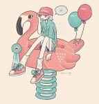 1girl aqua_shirt aqua_shorts balloon baseball_cap bird flamingo hand_up hat knees_up limited_palette omura06 original pink_footwear pink_headwear shirt shoes short_hair short_sleeves shorts sitting solo speech_bubble white_hair wide_shot