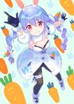 1girl animal_ear_fluff animal_ears bangs black_gloves black_legwear black_leotard blue_hair blush bow braid breasts carrot carrot_hair_ornament commentary_request don-chan_(usada_pekora) dress food_themed_hair_ornament fur-trimmed_gloves fur_trim gloves hair_bow hair_ornament highres hololive leotard licking_lips multicolored_hair pantyhose rabbit_ears red_eyes shati shoes short_eyebrows small_breasts thick_eyebrows tongue tongue_out twin_braids two-tone_hair usada_pekora virtual_youtuber white_bow white_dress white_footwear white_hair