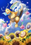 bag blurry brown_eyes claws clouds commentary_request day dragonite flower from_below gen_1_pokemon gen_2_pokemon highres hoppip kikuyoshi_(tracco) open_mouth outdoors pokemon pokemon_(creature) shoulder_bag signature sky smile sunflora sunflower tongue
