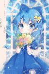 1girl :o adapted_costume bloomers blue_background blue_dress blue_eyes blue_hair blush bouquet bow chibi cirno commentary_request cowboy_shot daisy dress flower hair_bow hair_flower hair_ornament highres holding holding_bouquet looking_at_viewer partial_commentary puffy_short_sleeves puffy_sleeves short_hair short_sleeves snowflake_print snowflakes solo standing suzukkyu touhou underwear water_drop window wings