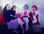 1boy 4girls blue_hair breasts earrings elbow_gloves gloves hair_slicked_back highres james_(pokemon) jessie_(pokemon) jewelry long_hair medium_breasts midriff multiple_girls navel nun pants pink_hair pokemon pokemon_(anime) sinful_hime single_glove skirt team_rocket torn_clothes train_interior white_pants