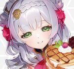1girl armor armored_dress eyebrows_visible_through_hair eyelashes flower food fruit galibo genshin_impact green_eyes hair_flower hair_ornament maid_headdress neckerchief noelle_(genshin_impact) pancake rose smile solo strawberry upper_body whipped_cream white_hair