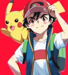 1boy arm_up asada_yo ash_ketchum bangs baseball_cap black_hair blue_jacket blush brown_eyes closed_mouth gen_1_pokemon hair_between_eyes hat jacket looking_at_viewer on_shoulder open_clothes open_jacket pikachu pokemon pokemon_(anime) pokemon_(creature) pokemon_on_shoulder red_background red_headwear shirt short_hair short_sleeves simple_background sleeveless sleeveless_jacket smile standing upper_body white_shirt