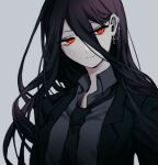 1boy amido_(compassion273) bangs black_hair black_jacket black_neckwear closed_mouth collared_shirt commentary_request cross cross_earrings danganronpa_(series) danganronpa_2:_goodbye_despair earrings formal grey_background grey_shirt hair_between_eyes jacket jewelry kamukura_izuru long_hair long_sleeves looking_at_viewer necktie open_clothes open_jacket red_eyes shirt solo upper_body white_shirt wing_collar